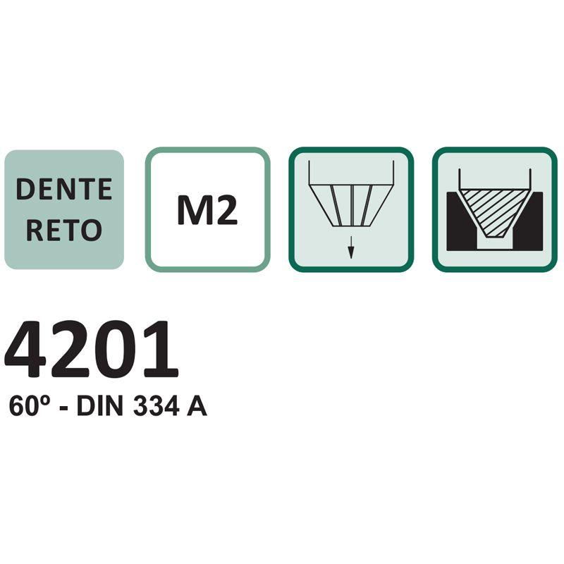 Escareador - Med. 8,0mm x 60º - Dente Reto, Corte à Direita, Haste Cilíndrica, DIN 334 A - Aço HSS (M2) - Cód. 4201 - INDAÇO