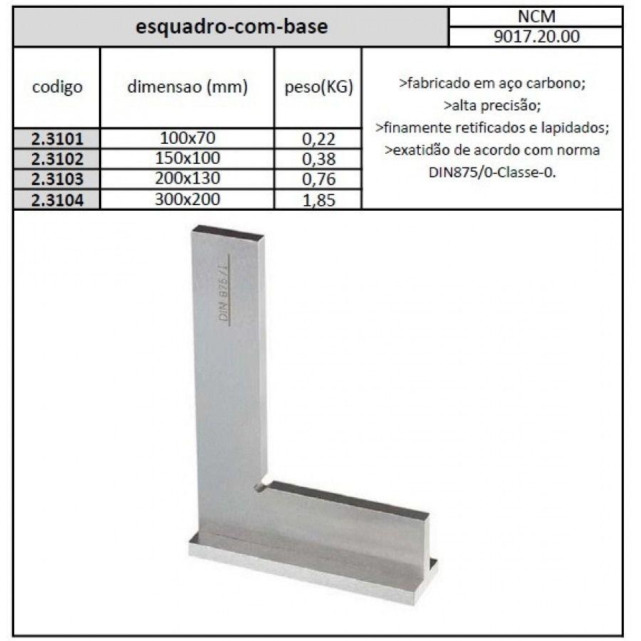Esquadro Com Base 300x200 mm Classe 0 - JG TOOLS
