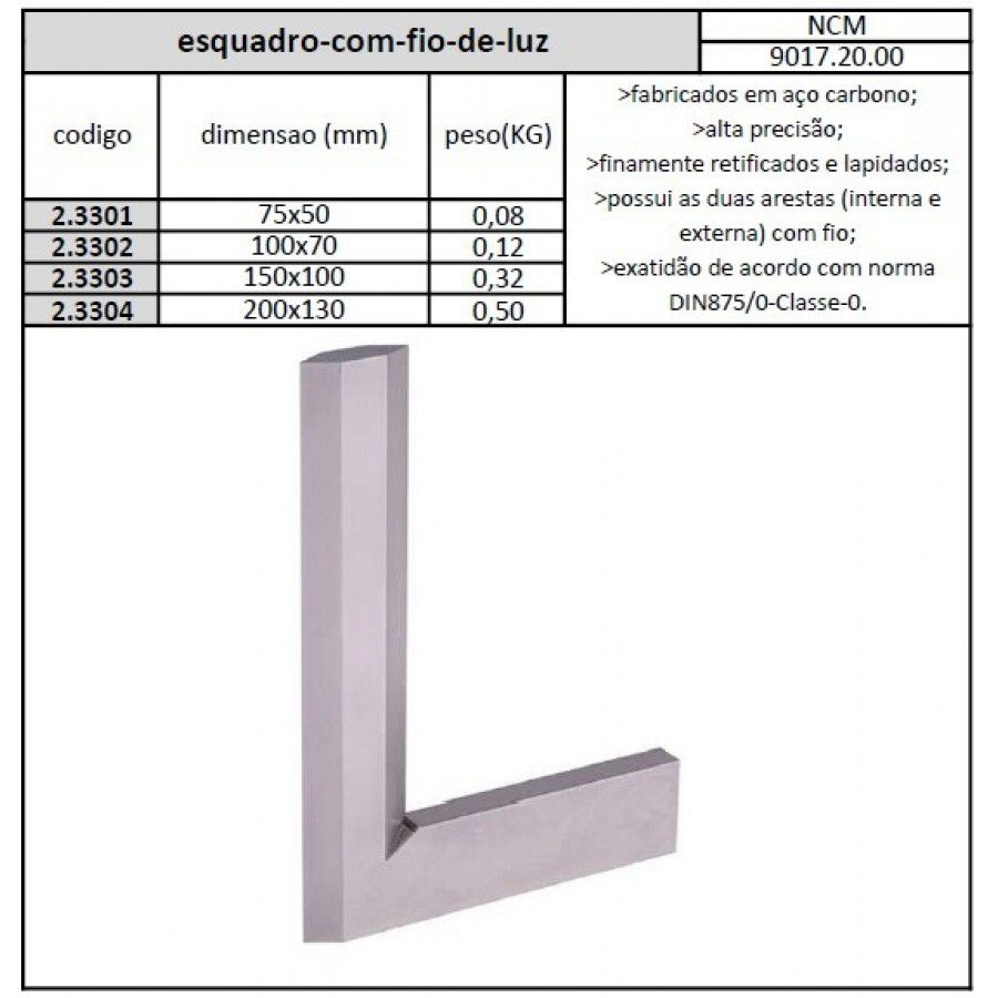 Esquadro Com Fio De Luz 075x50 mm Classe 0 - JG TOOLS
