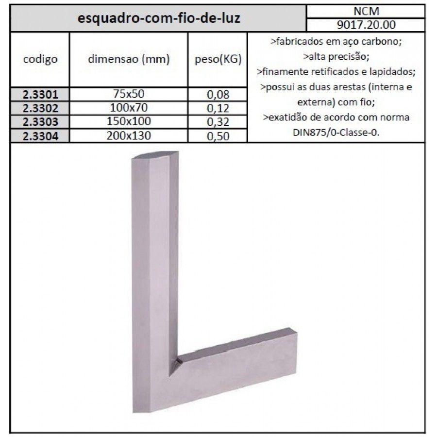 Esquadro Com Fio De Luz 100x70 mm Classe 0 - JG TOOLS