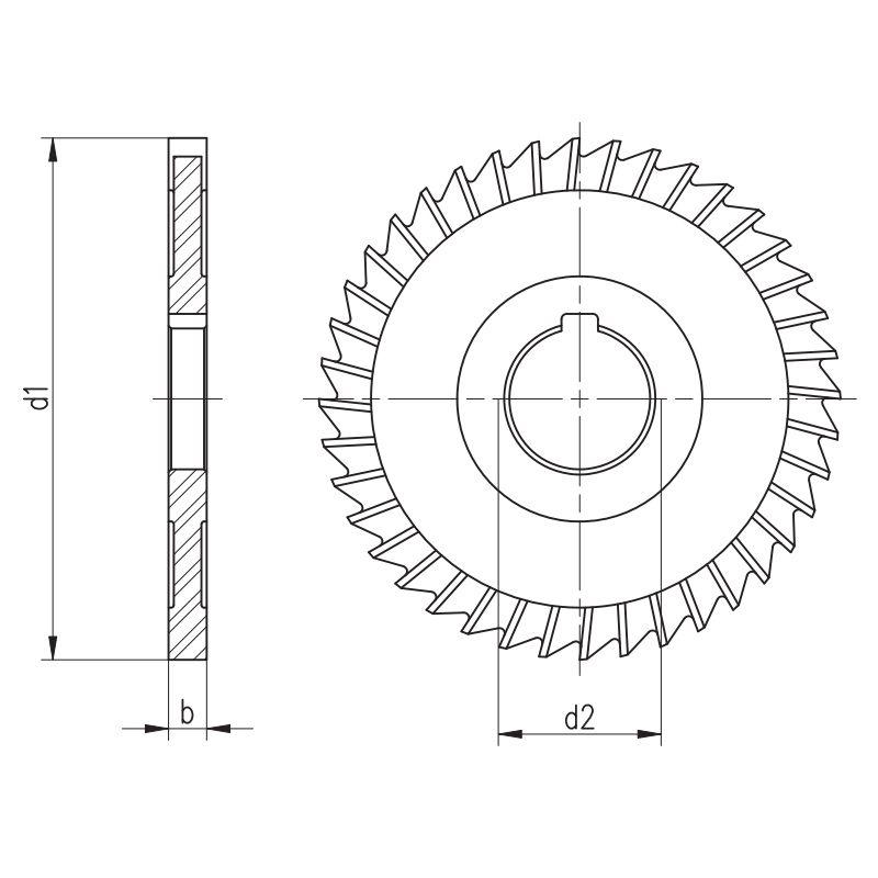 Fresa Circular, Corte 3 Lados, Dente Reto Extra Fino - Med. 80 x 5 x 27mm - DIN 1834 BN - Aço M2 - INDAÇO