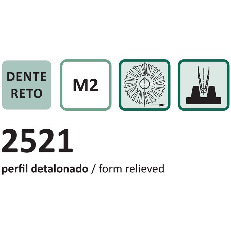 Fresa de Perfil Constante para Cremalheira Módulo 1 - Med. 140 x 40mm - Eixo Sem Fim, Ângulo de Pressão 20º - Aço Rápido (M2) - DIN 3972 - Cód. 2521 - INDAÇO