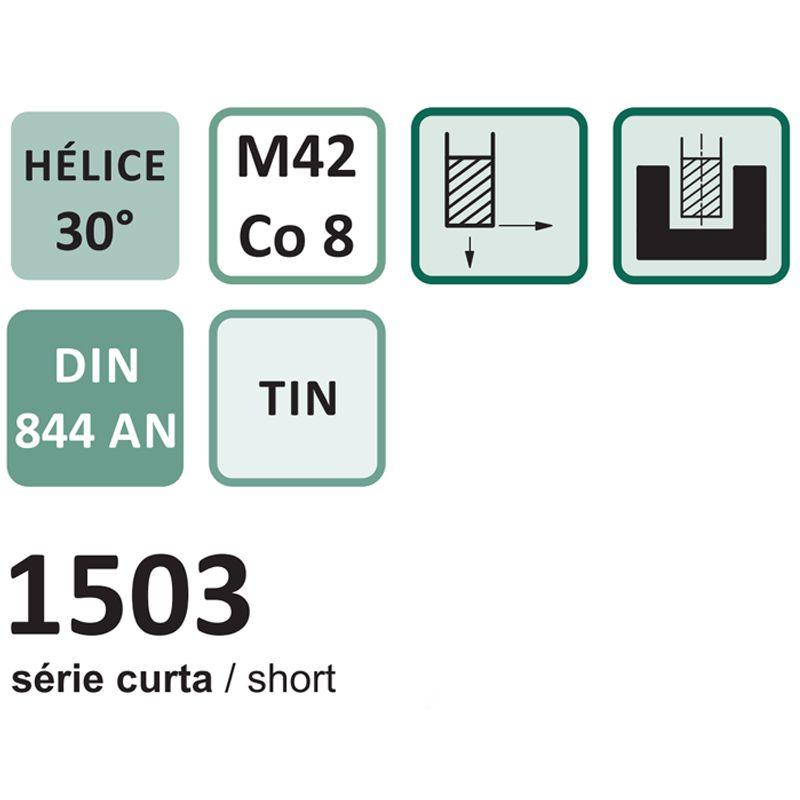 Fresa de Topo Reto - Med. 2,0mm - Haste Cilíndrica, 4 Cortes, DIN 844 AN - Aço Co 8 (M42) Revestimento em Titânio - Cód. 1503- INDAÇO