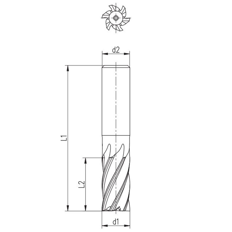 Fresa de Topo Reto - Med. 8,0mm - Haste Cilíndrica, 6 Cortes, DIN 844 AH - Aço HSS (M2) - Cód. 1502 - INDAÇO