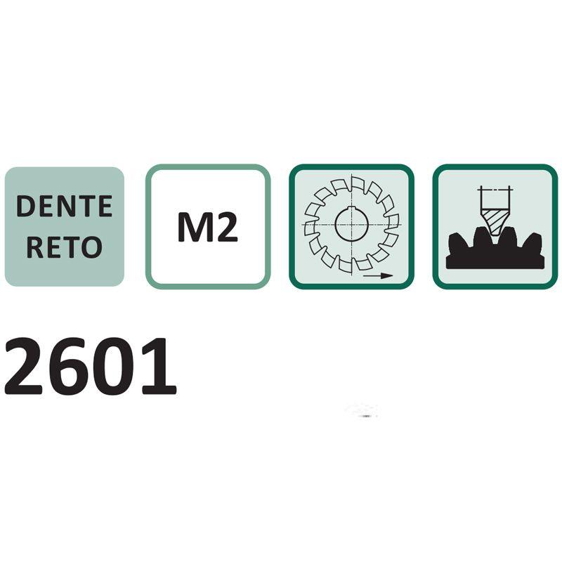 Fresa Módulo - M 4,5 Nº 2 - Para 14 a 16 Dentes - Perfil Constante, Dente Reto, DIN 3972- Aço HSS (M2) - Ref. 2601 - INDAÇO