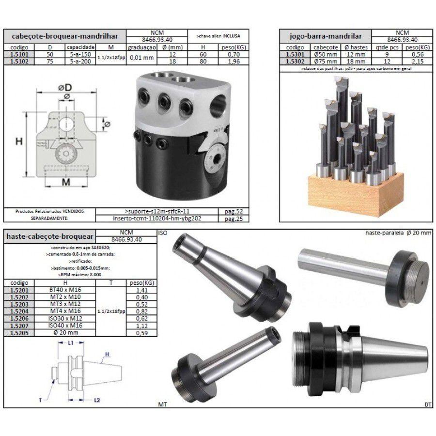 Haste Cabeçote Broquear Cone Morse 4xM16