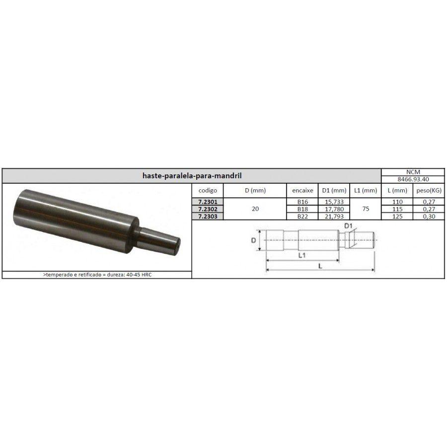 Haste Paralela Para Mandril 20 mm B18 - JG TOOLS