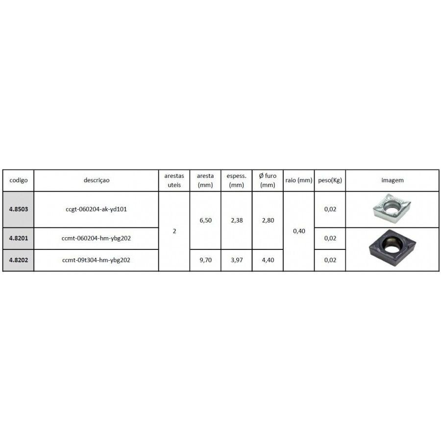 Inserto Pastilha CCMT 09T304 HM YBG202 - Caixa com 10 Peças - JG TOOLS