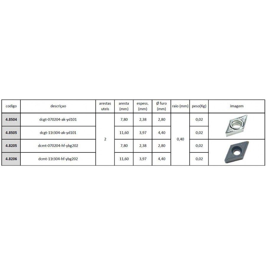 Inserto Pastilha DCMT 070204 HF YBG202 - Caixa com 10 Peças - JG TOOLS