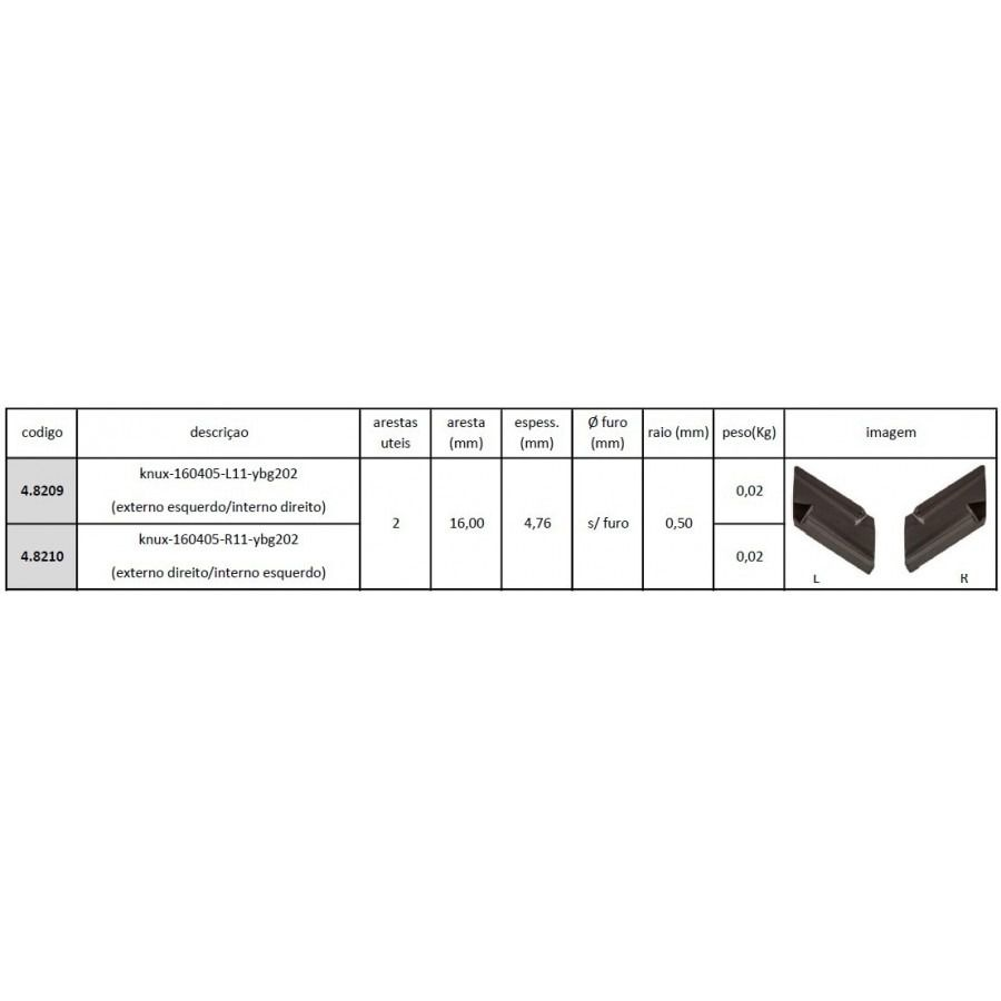 Inserto Pastilha KNUX 160405 L11 YBG202 - Caixa com 10 Peças - JG TOOLS