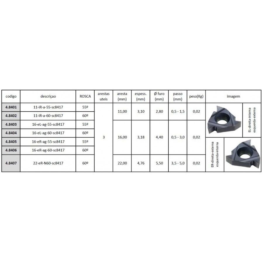Inserto Pastilha Rosca 11 IR A 60 SC8417 - Caixa com 10 Peças - JG TOOLS