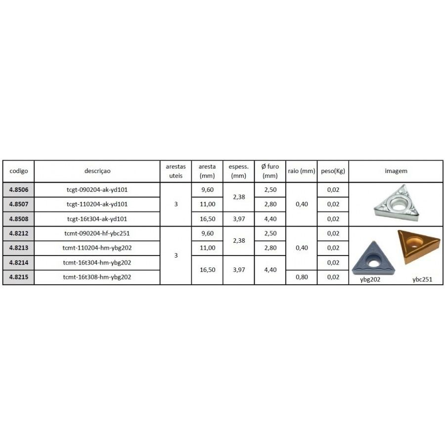 Inserto Pastilha TCMT 090204 HF YBC251 - Caixa com 10 Peças ? JG TOOLS