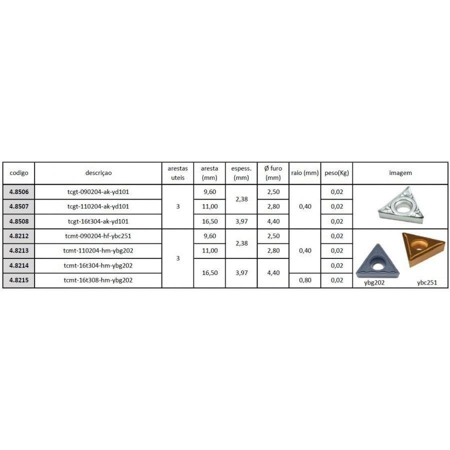 Inserto Pastilha TCMT 110204 HM YBG202 - Caixa com 10 Peças - JG TOOLS