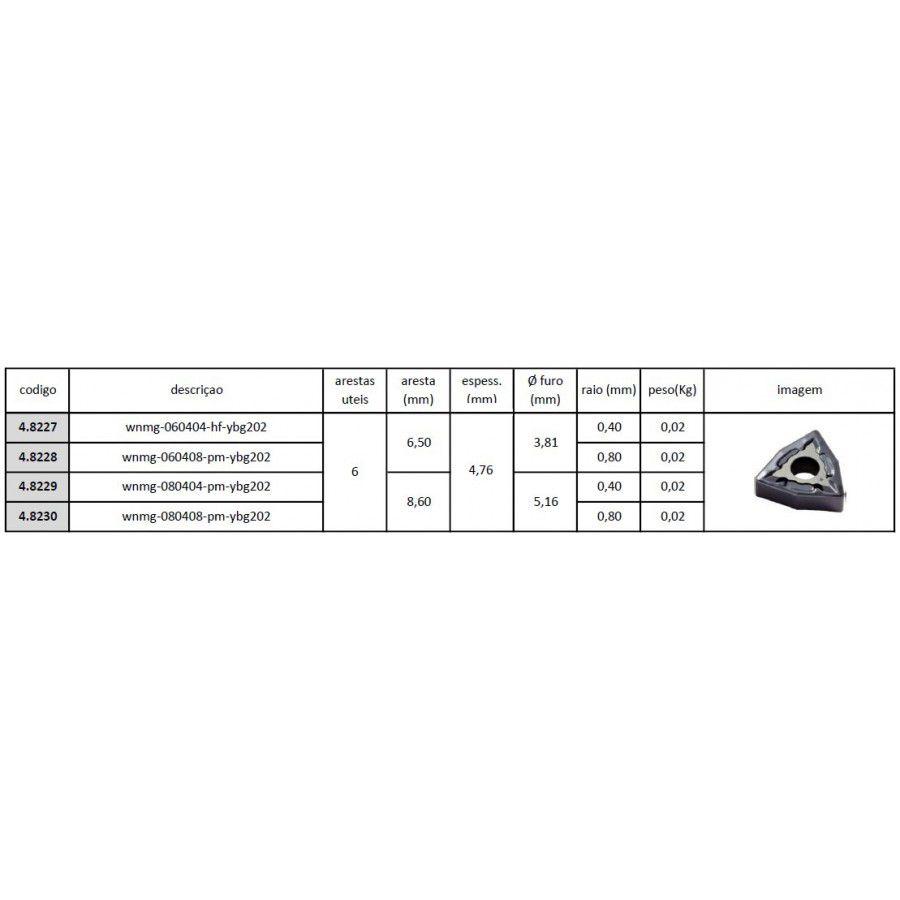 Inserto Pastilha WNMG 060404 HF YBG202 - Caixa com 10 Peças - JG TOOLS