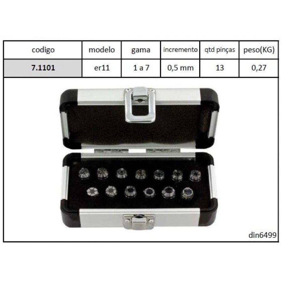 Jogo Pinças ER11 com 13 Pçs - Cap. 1 a 7 mm