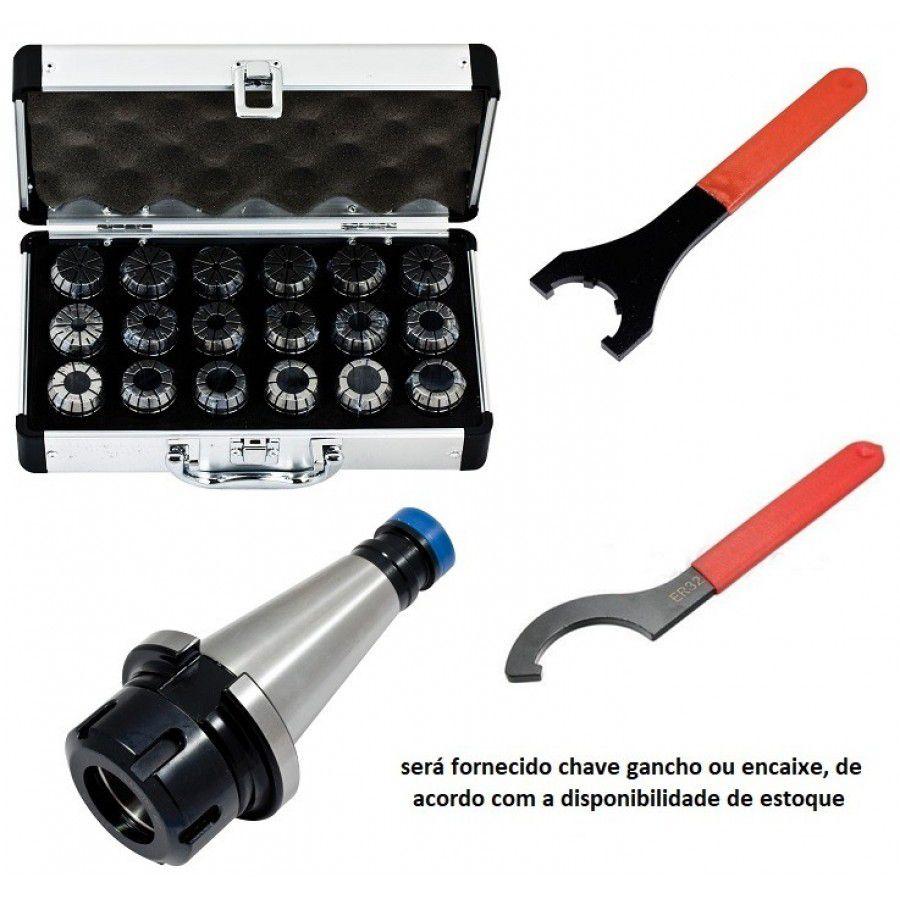 Kit Jogo Pinças ER32 Cone ISO40 Chave
