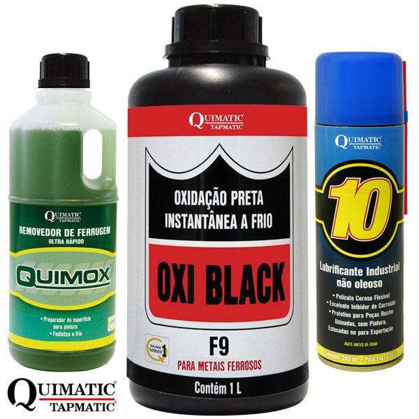 KIT OXI BLACK F9 - Oxidação Preta Instantânea a Frio + QUIMOX ? Removedor de Ferrugem Ultrarrápido - Embalagem 1 Litro + QUIMATIC 10 ? Lubrificante Industrial Aerossol 300 ML - QUIMATIC/TAPMATIC