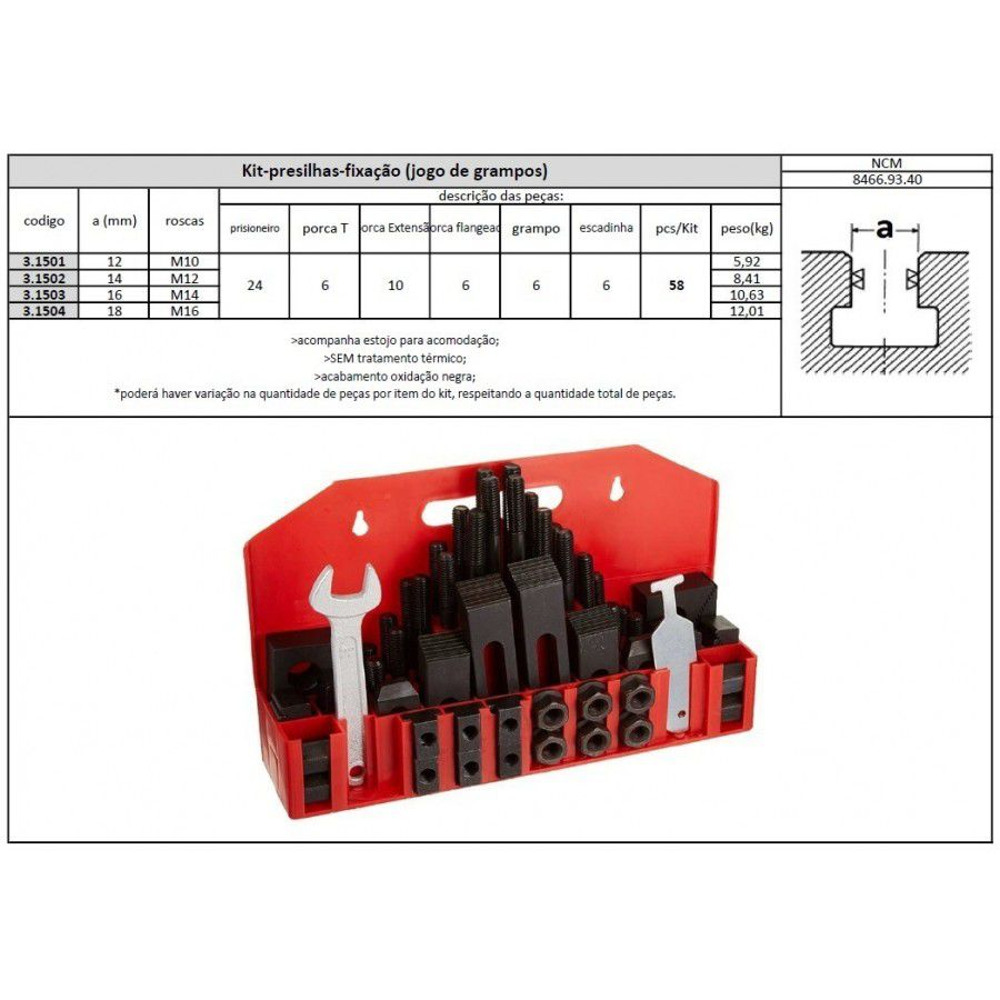 Jogo De Presilha Para Fixação M12  - Canal 14mm com 58 Peças