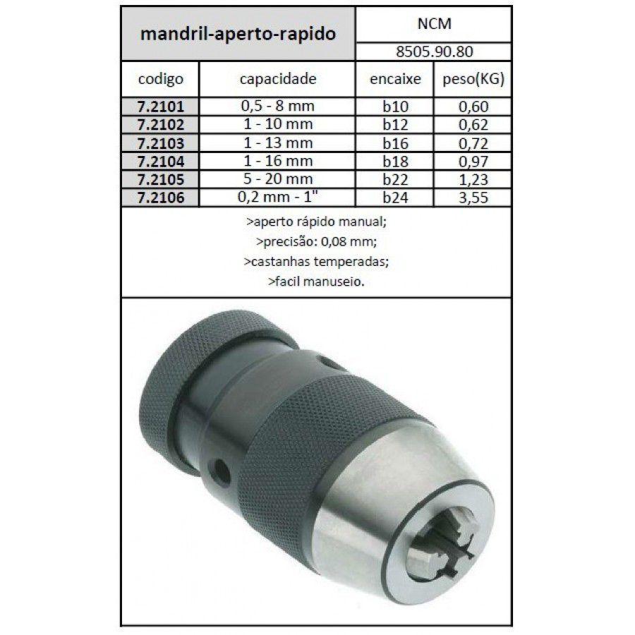 Mandril De Aperto Rápido Med. 5/8 (1 a 16mm) Com Encaixe B18