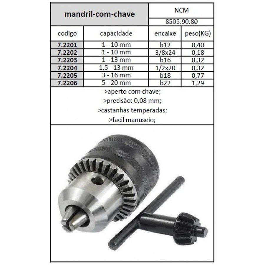 Mandril Com Chave 1,5 A 13 mm Rosca 1/2x20 Fios - JG TOOLS