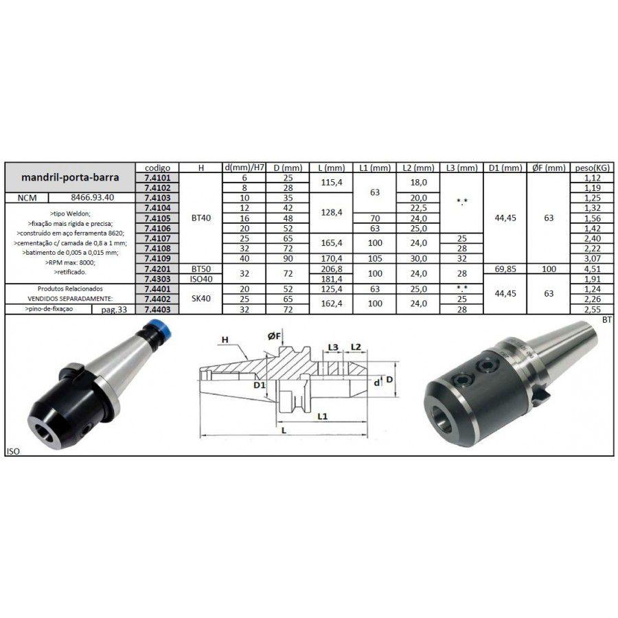 Mandril Porta Barra ISO40 32 mm - JG TOOLS