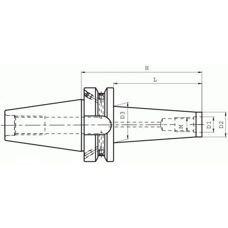 Mandril Porta Fresa BT40 Roscado M16 L=75 mm - JG TOOLS