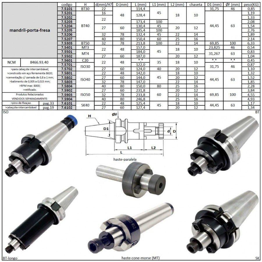 Mandril Porta Fresa ISO40 X 22mm - JG TOOLS