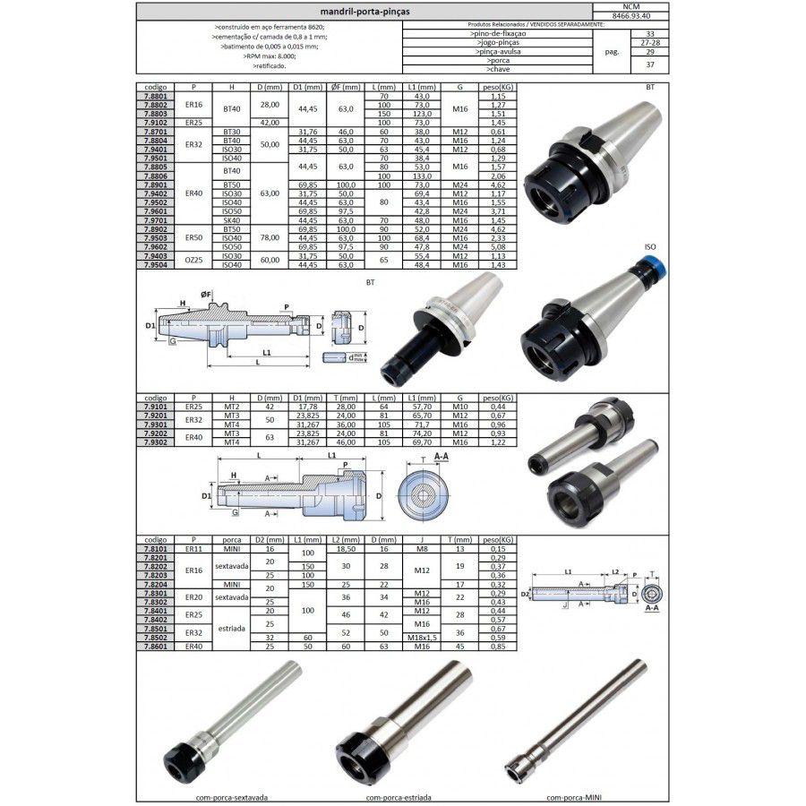 Mandril Porta Pinças ER40 BT40 L=100 mm - JG TOOLS
