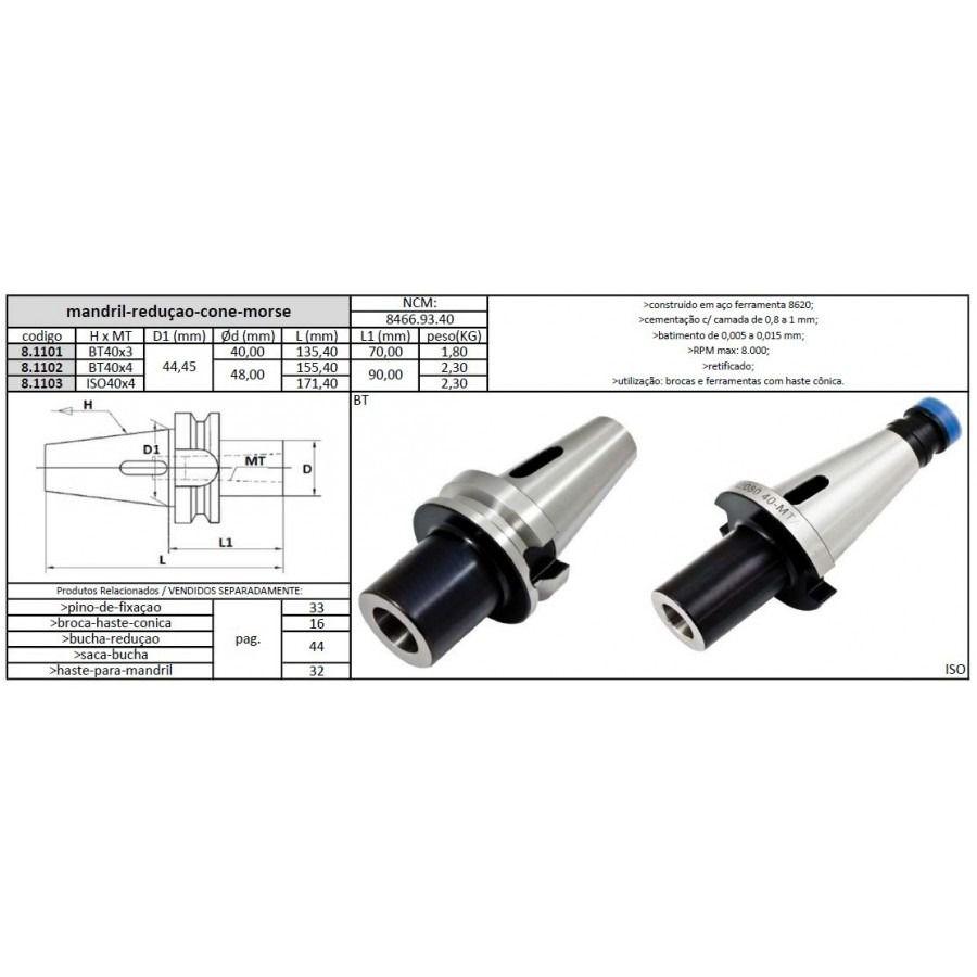 Mandril Redução Cone Morse 3xBT40 - JG TOOLS