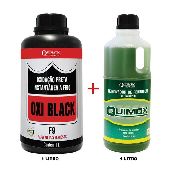 OXI BLACK F9 - Oxidação Preta Instantânea a Frio + QUIMOX ? Removedor de Ferrugem Ultrarrápido - Embalagem 1 Litro - QUIMATIC/TAPMATIC