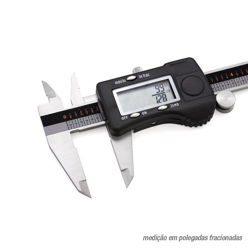 """Paquímetro Digital 3 Em 1 - 150mm/6"""" - Resolução 0,01mm/.0005""""/1/128"""""""