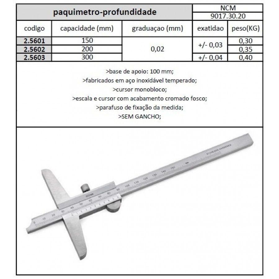 Paquímetro Profundidade 200 mm x Graduação 0,02 mm - JG TOOLS