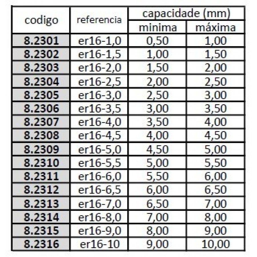 Pinça ER16 09,0 mm - JG TOOLS