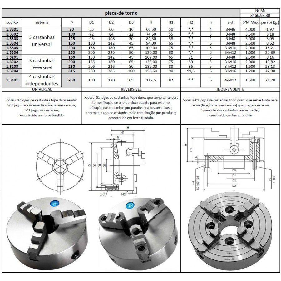 """Placa Para Torno Universal Diâmetro 250mm/10"""" Com 3 Castanhas Sobrepostas Reversíveis - JG TOOLS"""