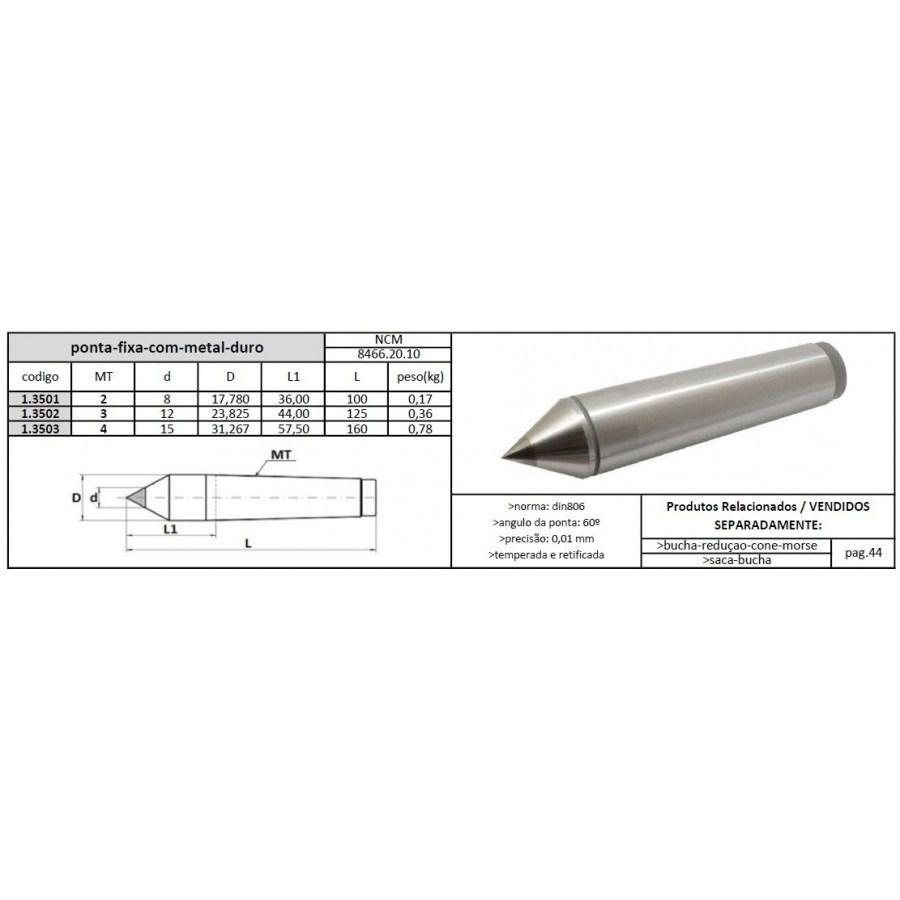 Ponta Fixa Cone Morse 2x8 Com Metal Duro - JG TOOLS