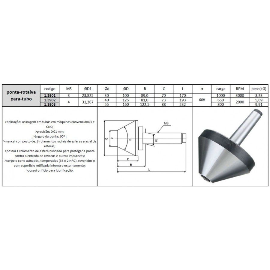 Ponta Rotativa Para Tubo Cone Morse 3 30x100 mm - JG TOOLS