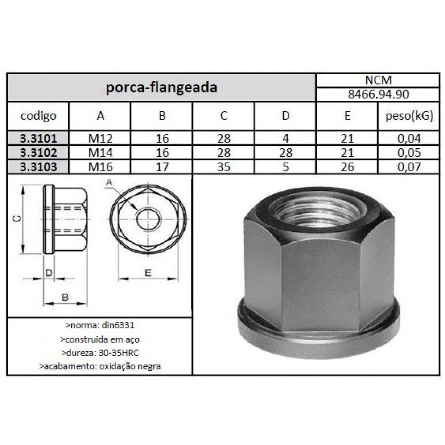 Porca Flangeada M12 - JG TOOLS