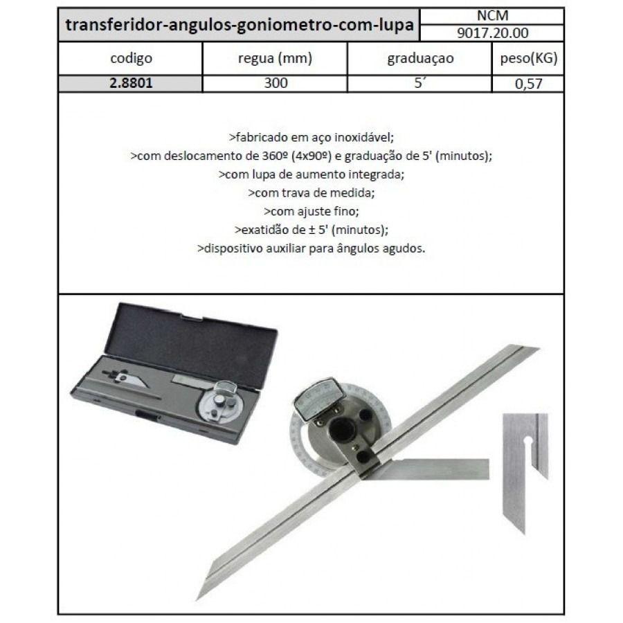 Transferidor Ângulos Goniômetro Com Lupa - JG TOOLS
