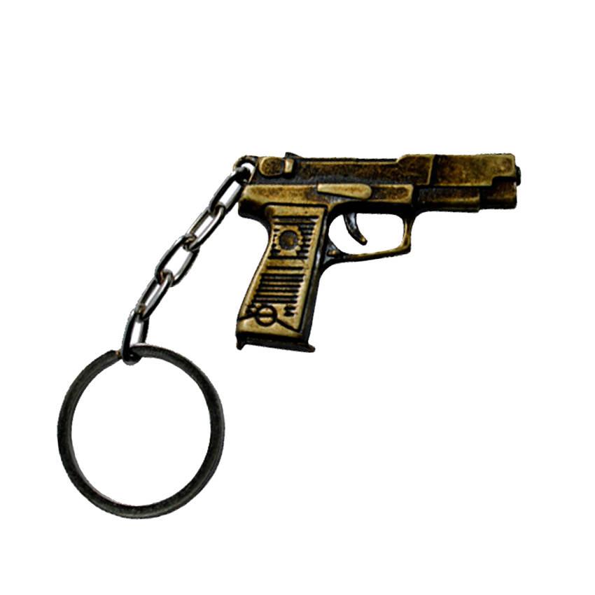 Chaveiro de Metal Pistola 8- Dourado