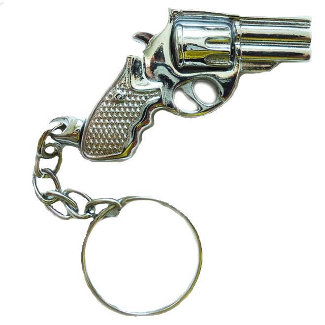 Chaveiro Revolver 38 Tambor Giratorio 7 Cromado
