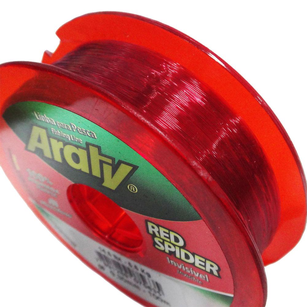 Linha Araty Monofilamento Red Spider Vermelho 100m