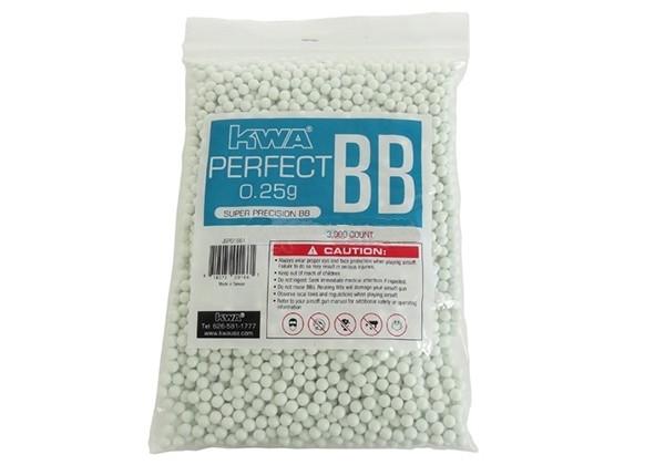 Municao/Esferas BBs 0,25G KWA Perfect 3000 UN Branca