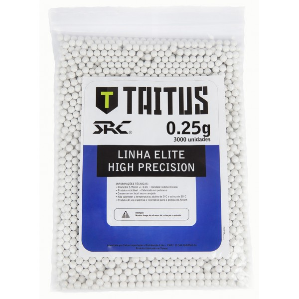 Municao/Esferas BBs 0,25G SRC Taitus 3000 unidades