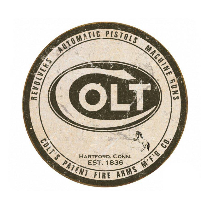 Placa Metálica Decorativa Redonda Colt Logo