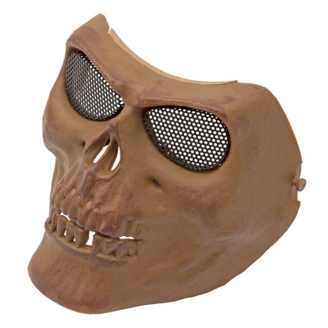 Máscara Tática de Caveira Tan ABS Tela de Metal HY049T