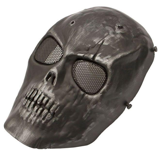 Máscara Tática de Caveira Preta Cromo ABS Tela de Metal HY049P
