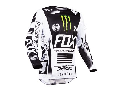 Camisa de Motocross Fox 180 Monster White / Black / Green