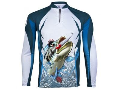 Camiseta King Sublimada 66 Tucunare Branca/Azul Prot UV 50