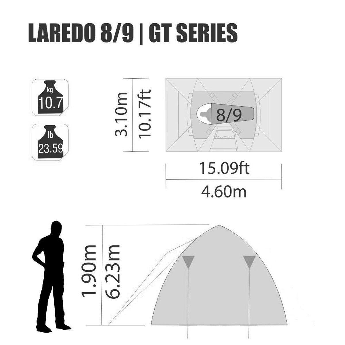 Barraca Nautika Laredo GT impermeável 8/9 Pessoas