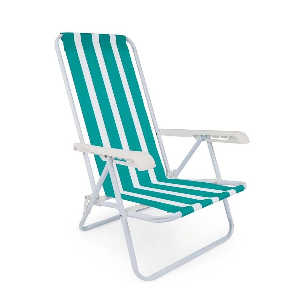 Cadeira Reclinável Summer Fashion Mor - Cor Verde/Branco